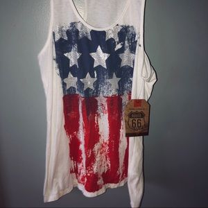 Route 66 Tops - American flag tank top NWT
